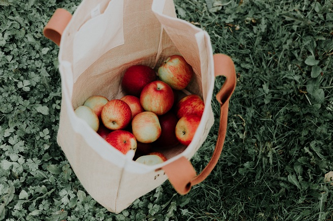 Reusable bag with apples inside it